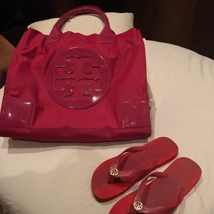 Purse and flip flops size 9